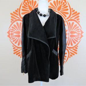 Calvin Klein Velour Faux Leather Wrap Jacket